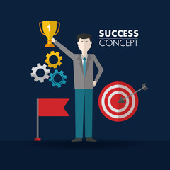 success concept man hand up wheel red flag trophy pointer vector illustration