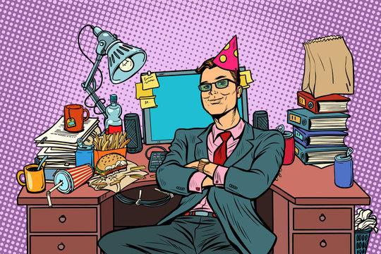 pop art businessman birthday, workplace