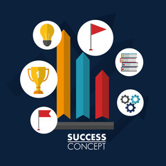 success concept statistics stickers trophy books wheels light bulb flag vector illustration
