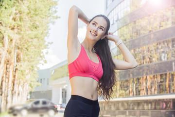 beautiful fitness girl on the street