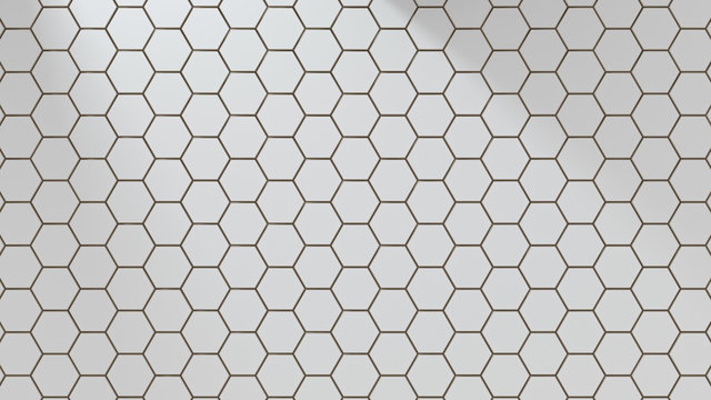 Set of white metal hexagons. Creative honeycomb geometric structure. Tech pattern of cell elements. Graphic digital concept. Abstract background. 3d rendering