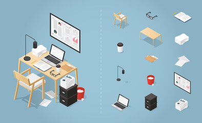 Isometric Office Desk Set