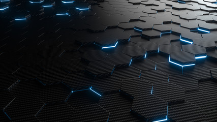 Abstract hexagonal geometric background. Structure of lots of hexagons of carbon fiber with bright energy light breaking through the cracks. 3d rendering