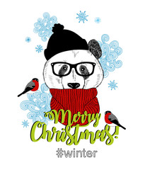 Merry Christmas card with funny panda animal in modern hipster style.