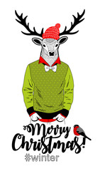Merry Christmas card with funny deer animal in modern hipster style.