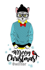 Merry Christmas card with funny cat animal in modern hipster style.