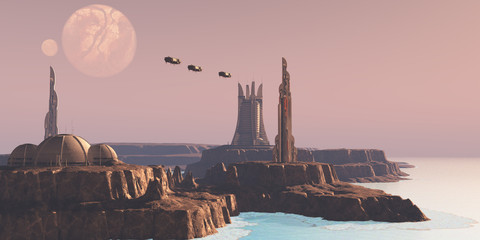 Astral Sector Planet - Shuttles take people to different buildings on an alien world full of advanced architecture.