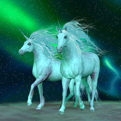 Northern Lights Unicorns - The Unicorn is a mythical creature that has a horse body with forehead horn and cloven hooves.