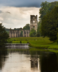 Fountains Abbey Vertical image with reflection in pond