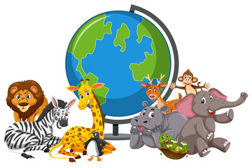 Wild animals and globe