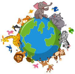 Wild animals on the globe