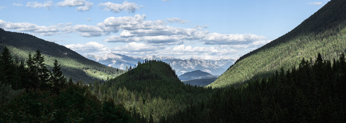 Panorama of Canadian rocky mountains in summer