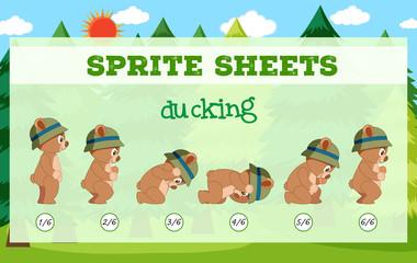 Sprite sheets bear ducking