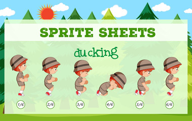 Sprite sheet boy ducking