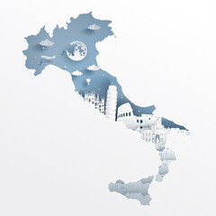 Fototapete - Italy with map concept and Italian famous landmarks in paper cut style vector illustration. Travel poster, postcard and advertising design.