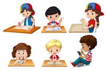 set of children studying