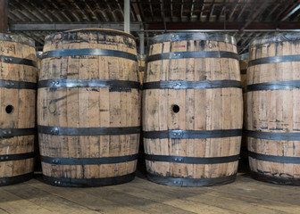 Fototapete - New Bourbon Barrels to be Filled