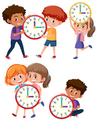 Children and time on white background