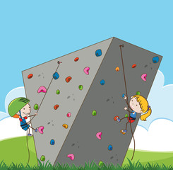 Children doing outdoor rock climbing