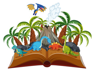 Open book dinosaur theme