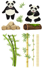A set of panda and bamboo element