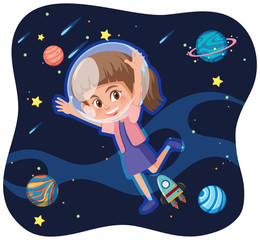 A girl exploring the space