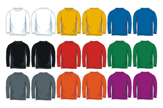 Colorful long sleeve t-shirt template. Front and back vector image