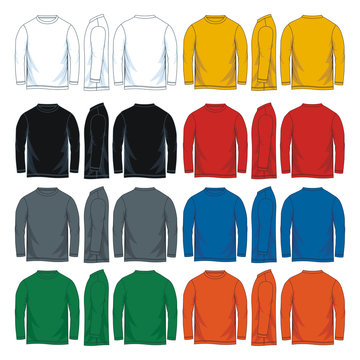 Colorful long sleeve t-shirt. Front side and back vector image