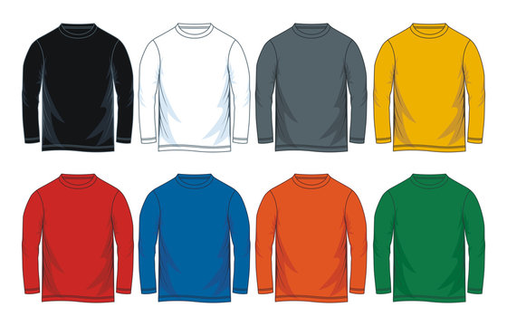 Colorful blank long sleeve t-shirt.  vector image