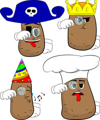 Potatoes holding a magnifying glass. Cartoon potato collection with costume faces. Expressions vector set.