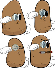 Potatoes holding a magnifying glass. Cartoon potato collection with angry and sad faces. Expressions vector set.