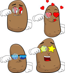 Potatoes holding a magnifying glass. Cartoon potato collection with various faces. Expressions vector set.