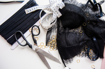 Cutting out items for seamstresses, sewing accessories on the table