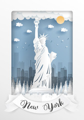Fototapete - Paper cut style of world famous landmark of New York City, America and buildings with white frame and label. Travel postcard and poster, brochure, advertising Vector illustration.