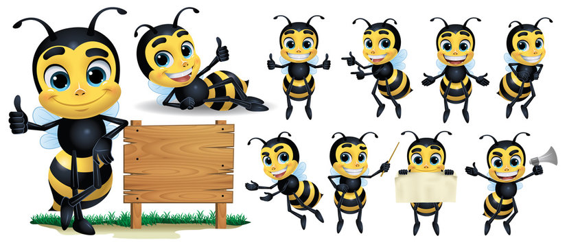 Bee cartoon Character with 10 poses_Vector Illustration EPS 10