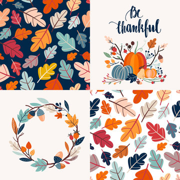 Autumnal collection of cards with decorative seamless pattern and hand lettering