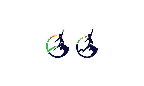 Mountain Top Successful Business Logo Vector Icon