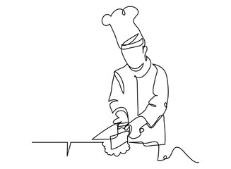 continuous line drawing of chef cooking cook a gourmet concept