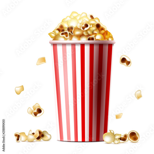 Popcorn bucket vector illustration of 3d realistic striped cup with popcorn bucket vector illustration of 3d realistic striped cup with sweet or salty pop corn snack maxwellsz