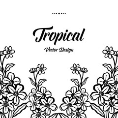 Hand draw of tropical with flower vector illustration