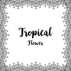 Tropical card with flower hand draw vector illustration