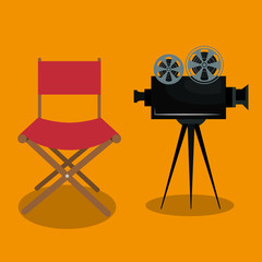 cinema director chair with camera