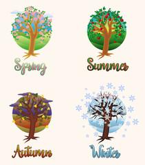 Four seasons cards, vector illustration