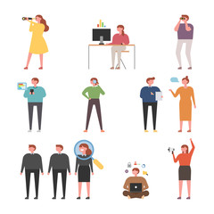 people searching something. flat design style vector graphic illustration set