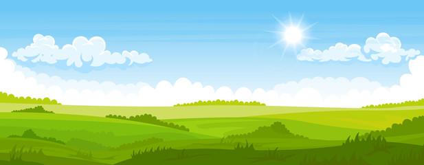 Spoed Fotobehang Blauw Summer landscape with fields and green hills