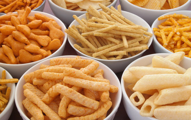Assortment of snackes, fast food background