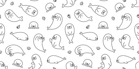 seal seamless pattern vector bear isolated walrus sea lion polar bear background wallpaper