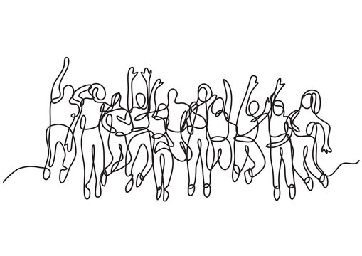 continuous line drawing of large group of jumping people