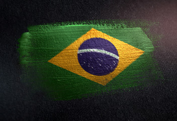 Brazil Flag Made of Metallic Brush Paint on Grunge Dark Wall Wall mural