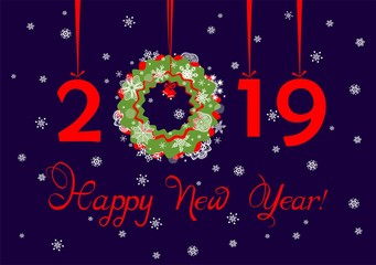 Greeting navy blue card with hanging paper cutting red numbers, paper wreath and cut out snowflakes for New year 2019